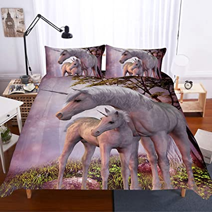 cf0bac4b8cac Image Unavailable. Image not available for. Color  3d bedding set Unicorn  bedding print twin queen king super king bedclothes duvet cover ...