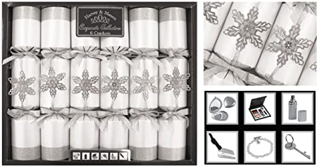 6 Christmas Crackers Luxury Gold Napkin Rings Christmas Novelty Party Tableware