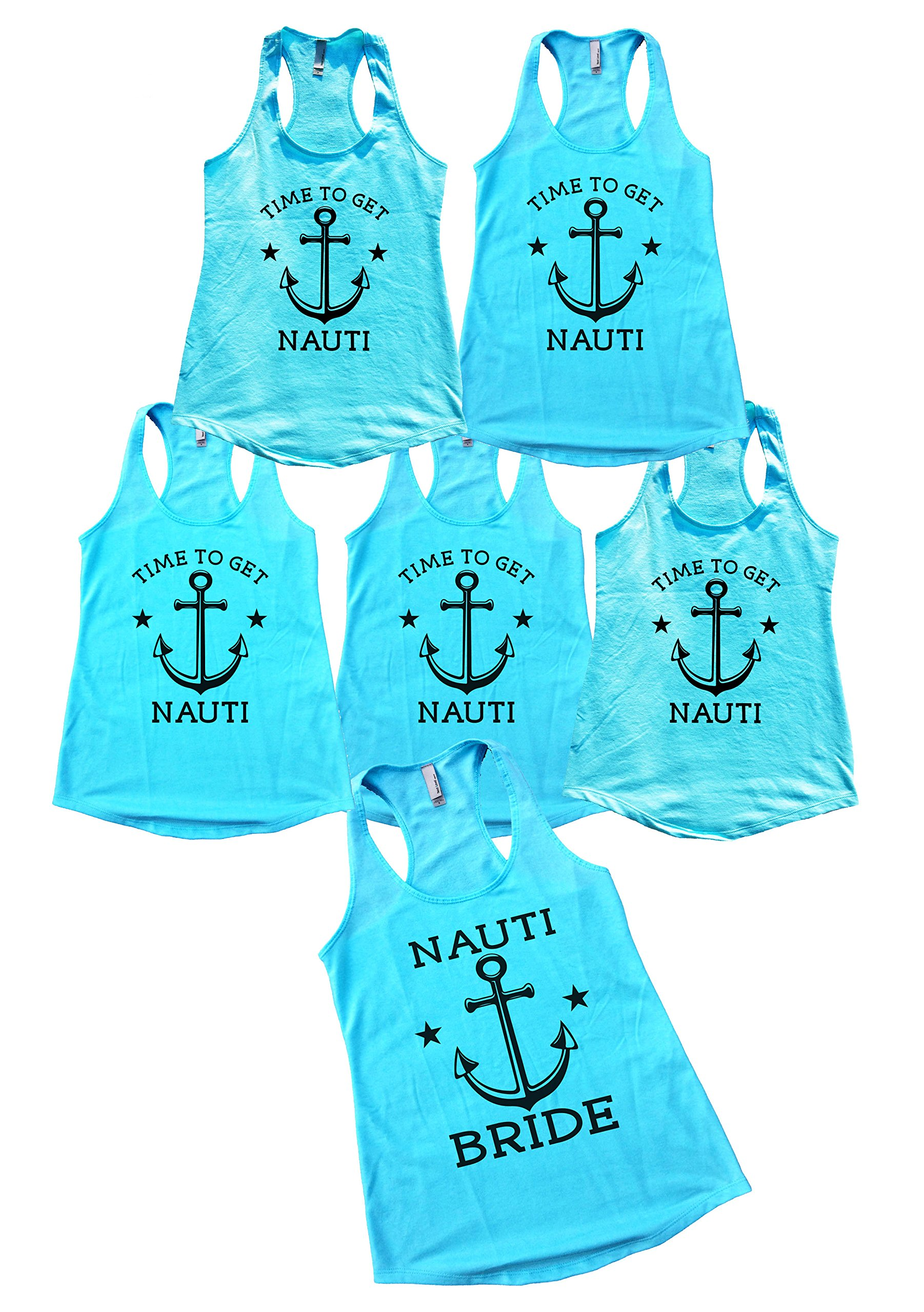 Bridal Party Tank Top Set 6 Pieces Lets Get Nauti Bachlorette Party - Funny Threadz (Message Us The Sizes) by Funny Threadz