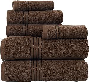 Lavish Home 100% Cotton Hotel 6 Piece Towel Set - Chocolate