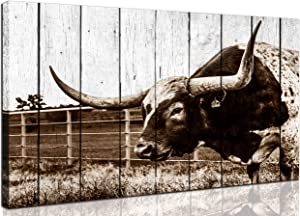aburaeart Texas Longhorns Wall-Decor - Wall Art for Living Room - Rustic Farmhouse Wall Art - Western Decor Canvas Framed Ready to Hang for Kitchen Dining Room Size 24x36
