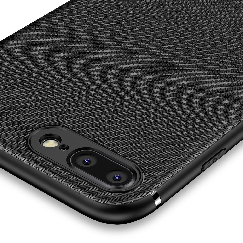 Coque iphone 7 plus, Coque iphone 8 plus,J Jecent [Fibre de Carbone] Silicone TPU Souple Bumper Case Cover de Protection Premium Non Slip Surface Housse Etui [Anti-Choc et Anti-Rayures] Coque pour iPhone 7 plus(2016)/ iphone 8 plus (2017) 5