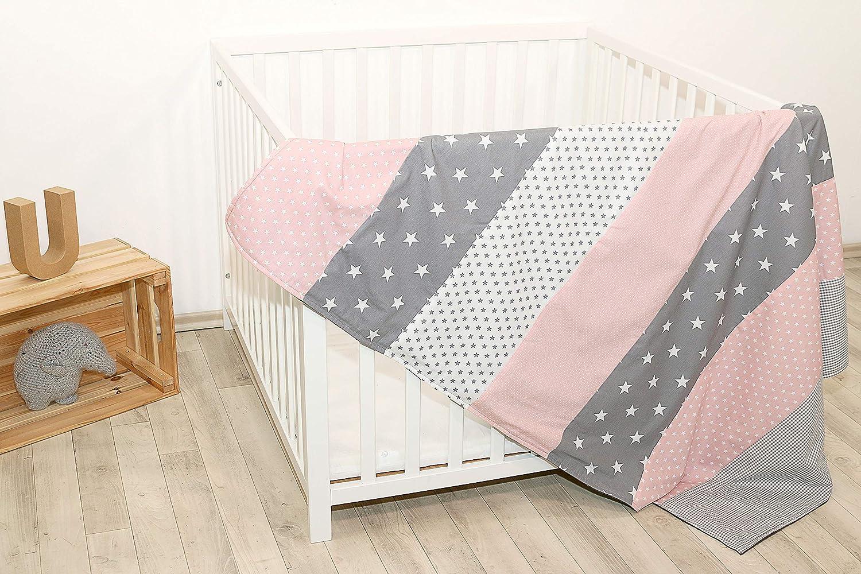 Colcha para bebé de ULLENBOOM ® con rosa gris (manta de arrullo para bebé de 100 x 140 cm, ideal colcha para el cochecito; apta alfombra de juegos)