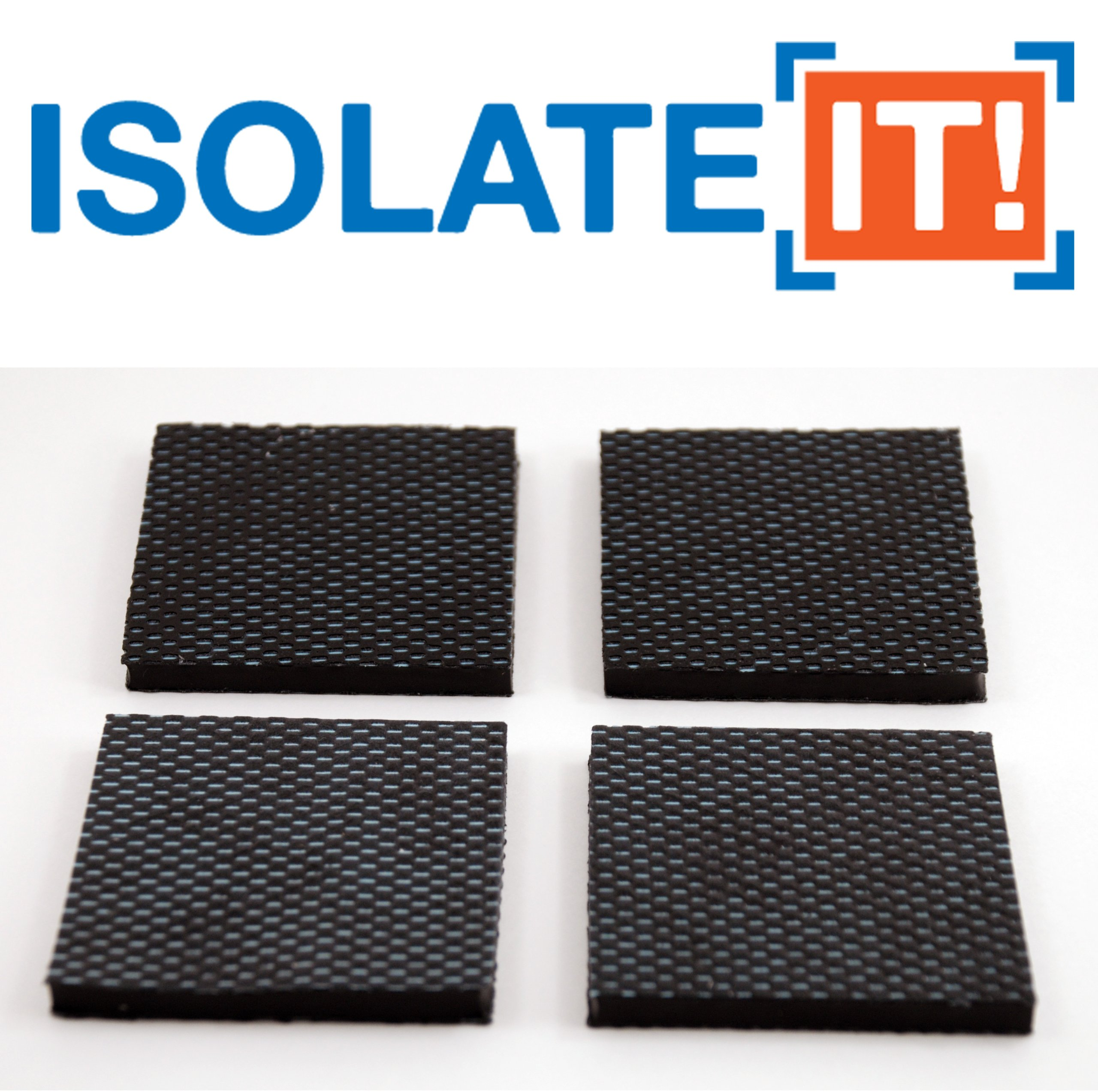 Isolate It: Sorbothane Vibration Isolation Reinforced Heavy Duty Square Pad 50 Duro (2.5'' x 2.5'' x 1/4'' Thick) - 4 Pack