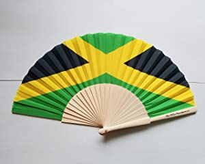 Fans Of Our Nation Jamaica Flag Fabric Folding Hand Fan with Bamboo Handle