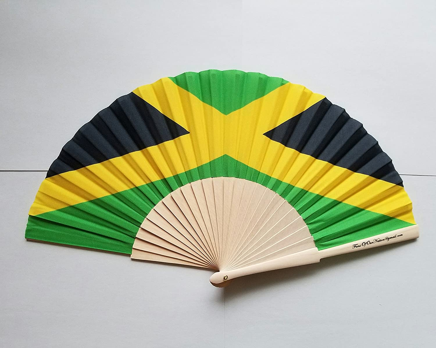 Amazon.com: Jamaica Flag Fabric Folding Hand Fan with Bamboo ...