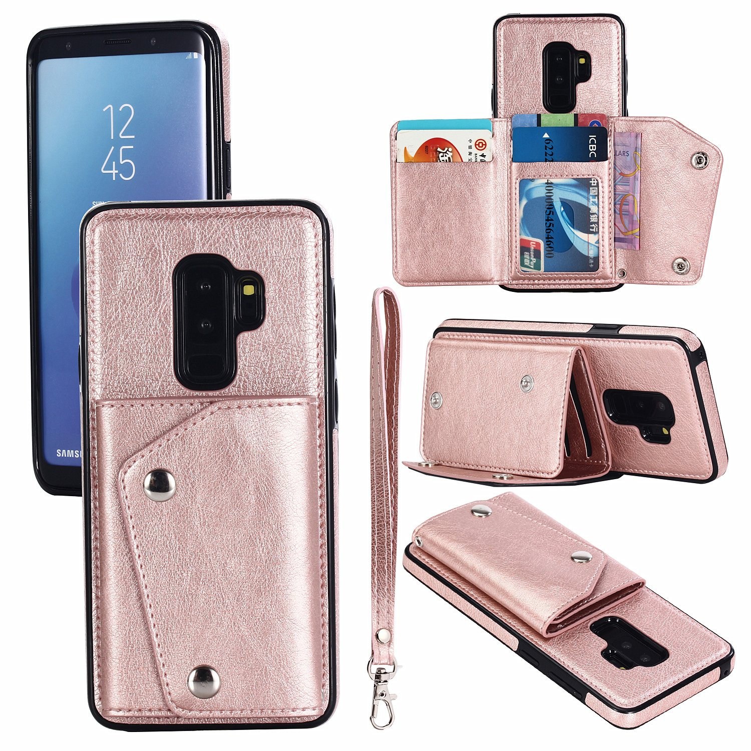Gostyle Galaxy S9 Wallet Case,Samsung Galaxy S9 Case with Credit Card Slots,Fashion Multifunction Premium PU Leather Cover with Kickstand Cash Pocket Hand Strap Shockproof Cover,Rose Gold