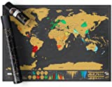 Luckies of London Scratch off Map World Poster, Detailed Map of the World with capitals, states, cities, Scratch Map Deluxe Edition