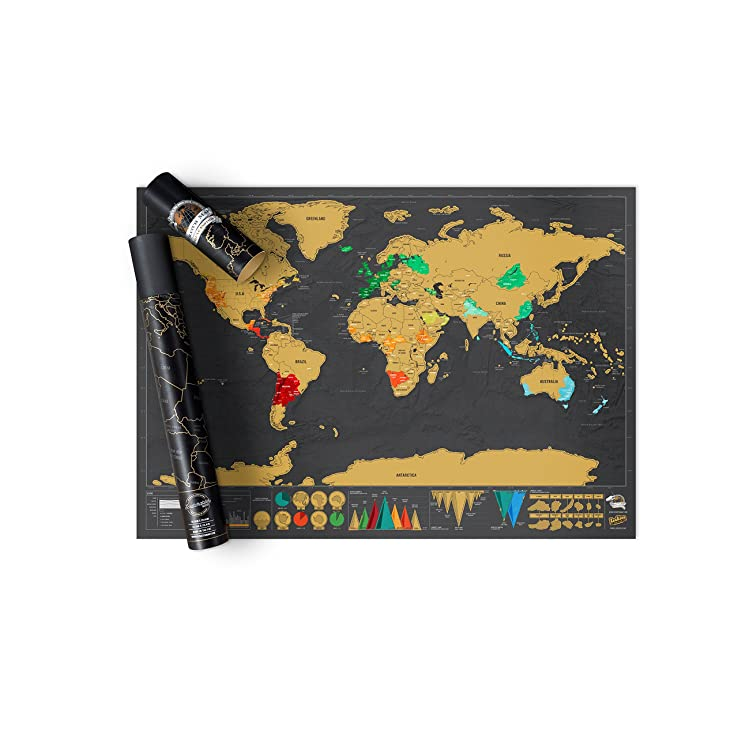 Scratch Map Deluxe Edition - Personalised World Map Poster, Travel Gift - Luckies of London