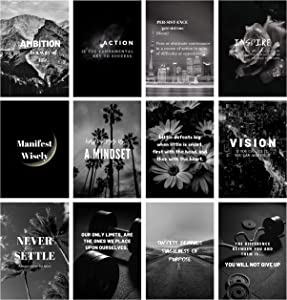Miss Independent Inspirational Wall Art, Set of 12 Black and White Motivational Posters, 9x13 Inch Classroom Decorations, Home and Office, Positive Entrepreneur Quotes
