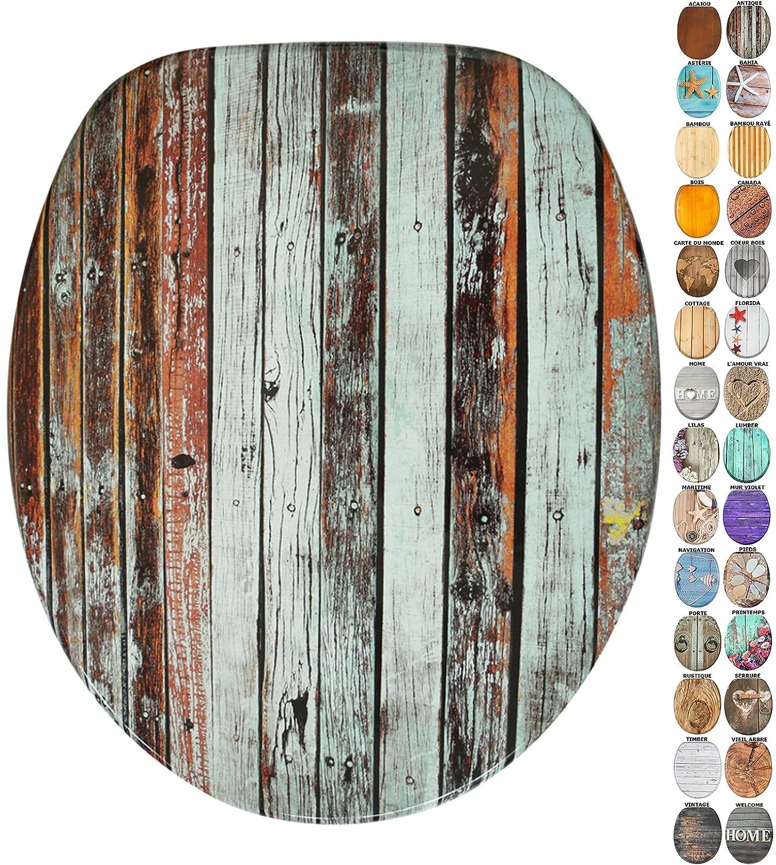 Abattant WC - Grande sélection de abattants wc en bois - Finition de haute qualité (Vieil arbre) SANILO