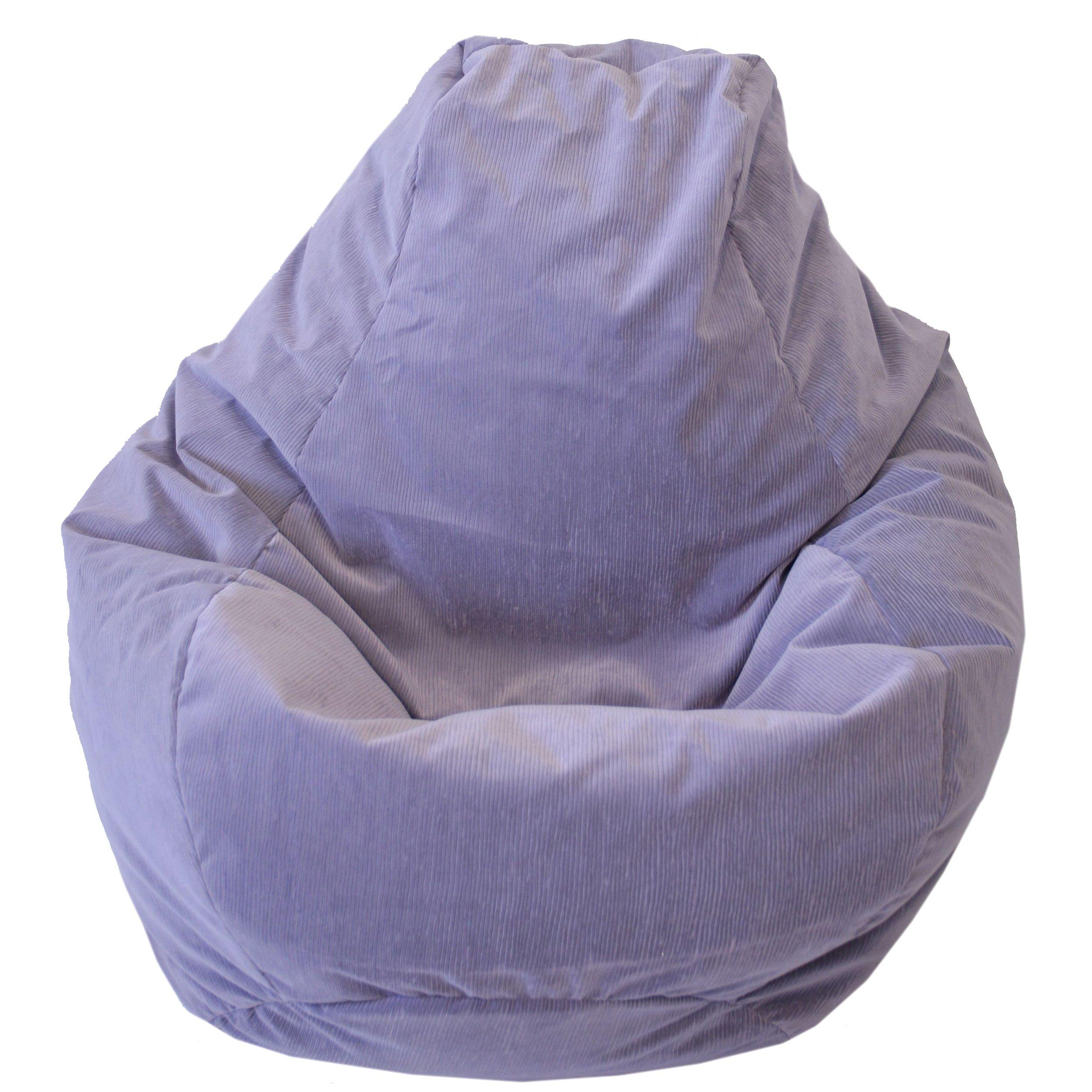 Gold Medal Bean Bags Tear Drop Micro-Fiber Suede Corduroy Bean Bag, Large, Lilac