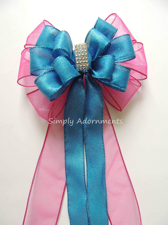 Amazoncom Turquoise Pink Wreath Bow Blue Pink Wedding Pew