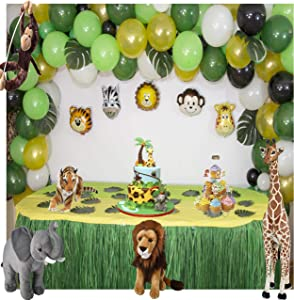 Longlastix 165-Pcs Jungle Safari Party Theme Balloons Kit with Hand Pump Tie Tool Set-Baby Shower Decorations,24 Tropical Rainforest Birthday Decor Palm Leaves, Assorted Decorative Animal Balloons
