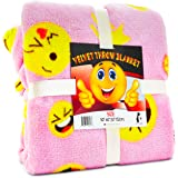 Koltose by Mash Pink Emoji Throw Blanket, Adorable Soft Large Fluffy Lightweight Emoticon Blanket for Girls and Boys, Toddlers Kids Teens and Young Adults (50in x 60in)