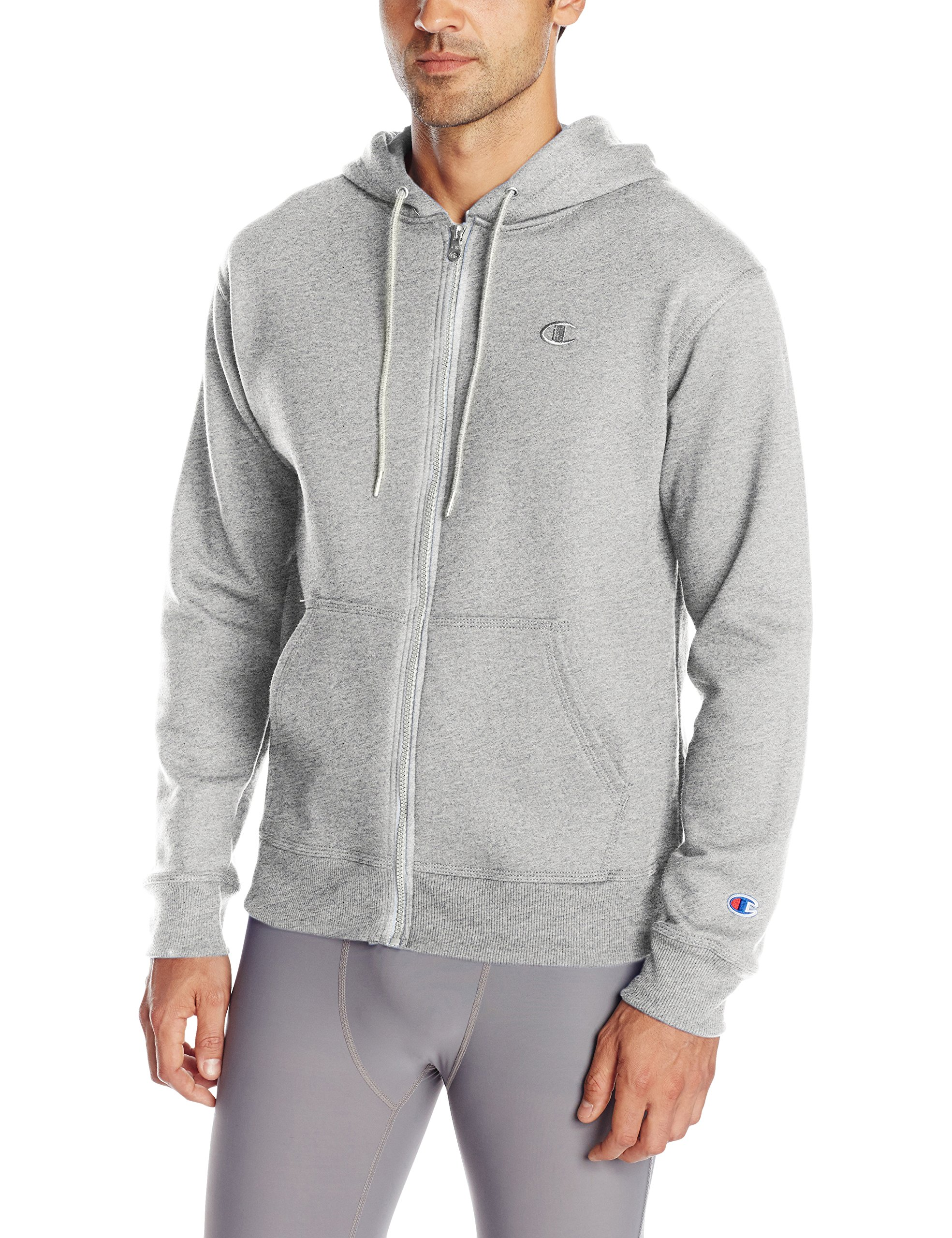 Champion Men's Powerblend Fleece Full-Zip Hoodie, Oxford Gray, 3XL by Champion