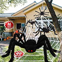 Outdoor Halloween Decorations Including 12ft Spider Webs, 4pcs 49in Mega Giant Spiders, Ultra-stretch Cobwebs, Most…