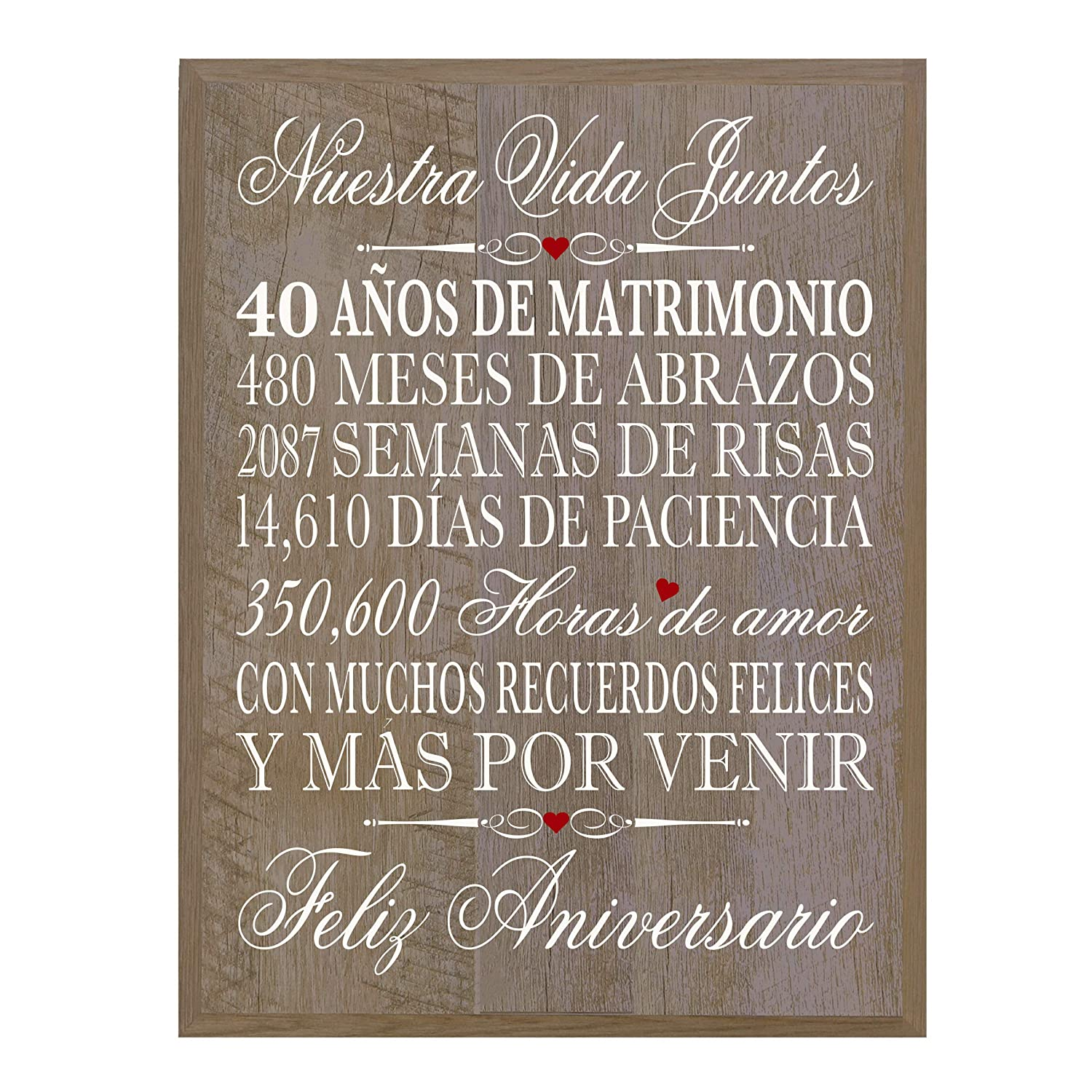 """Amazon.com - LifeSong Milestones Spanish 40th Wedding Anniversary Wall Plaque Gift for her, him, Husband, Wife, Couples 12"""" x 15"""" (Walnut) -"""