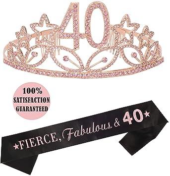 Amazon Com 40th Birthday Tiara And Sash Happy 40th Birthday Party