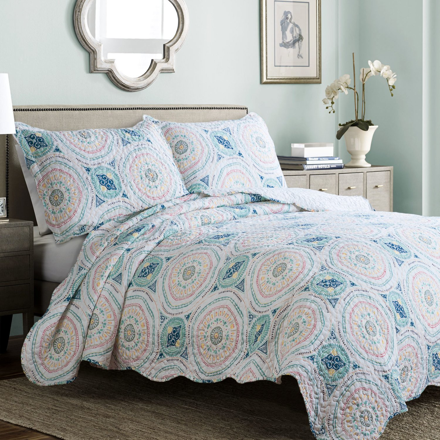 Bedsure Printed Quilt Set with Shams - Hypoallergenic and Lightweight Tangier, Blue Aqua, Full/Queen