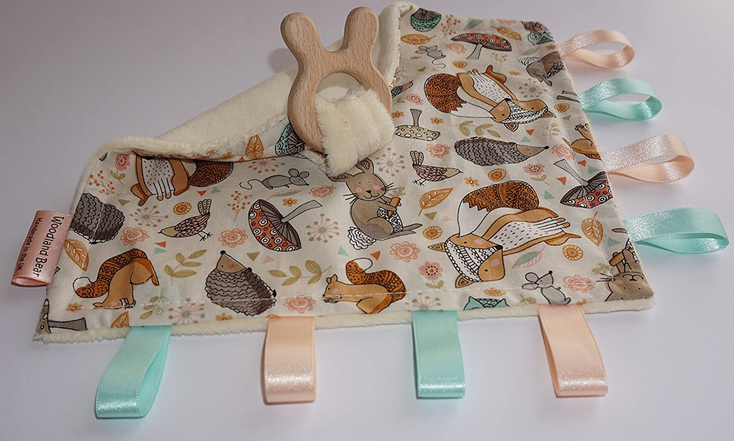 Teething baby blanket comforter - Woodland Animals - organic wooden teething rabbit ears - CE certified from birth