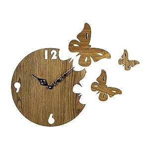 Sehaz Artworks Moon_Butterfly Round MDF Designer Wall Clock (25.4 cm x 25.4 cm x 4 cm, Beige)