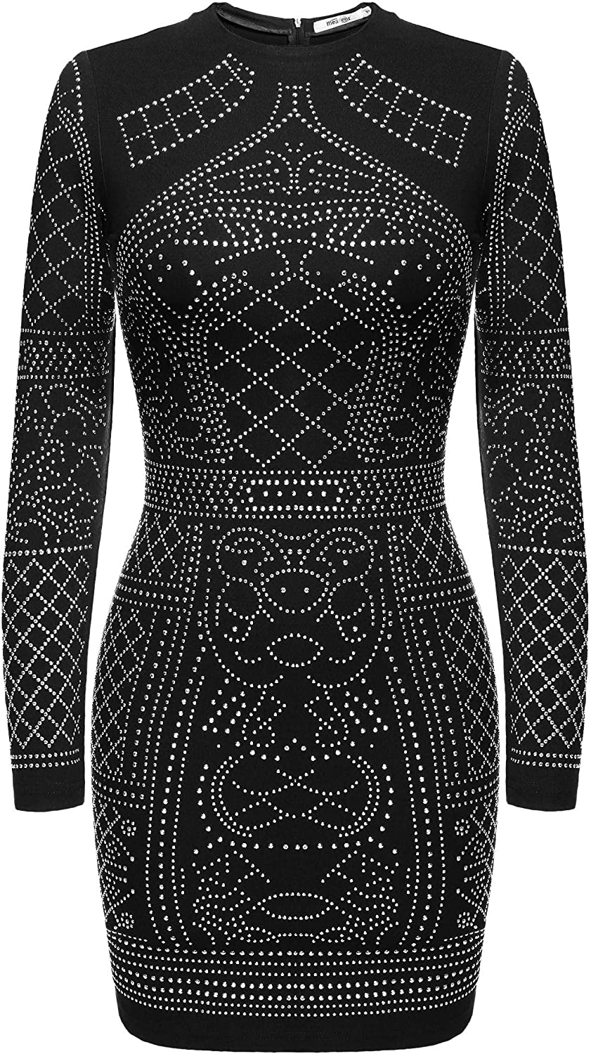 Meaneor Women's Long Sleeve Rhinestone Embellished Vintage Cocktail Dresses