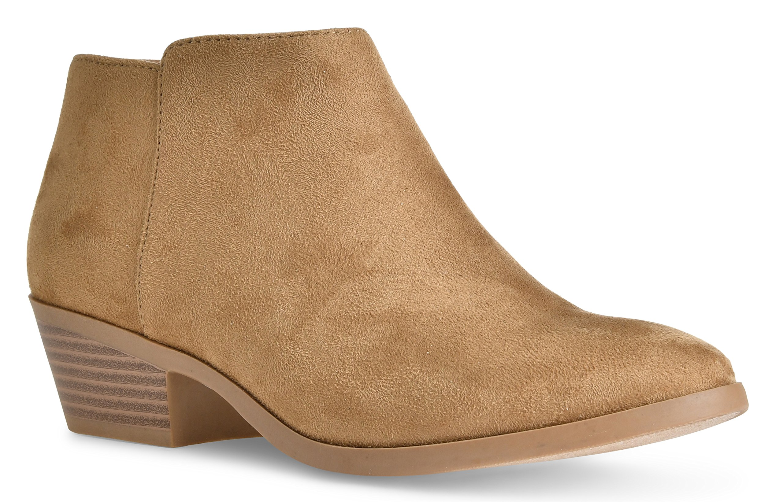 LUSTHAVE Riley Women's Chelsea Round Toe Western Cowgirl Low Heel Closed Toe Casual Ankle Bootie by Natual Suede 8.5