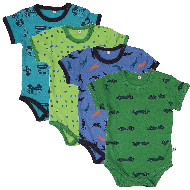 Pippi 4er Pack Kinder Jungen Body mit Aufdruck, Kurzarm, Alter 2-3 Jahre, Größe: 98, Farbe: Dunkelblau, 3820 Größe: 98