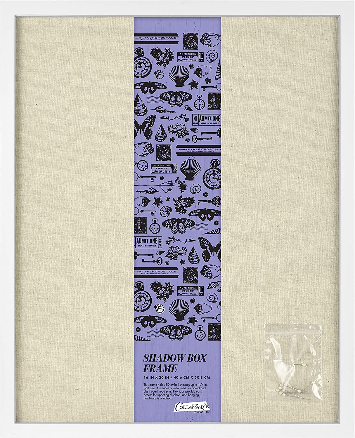 MCS 16x20 Inch Linen Lined, White shadowbox,