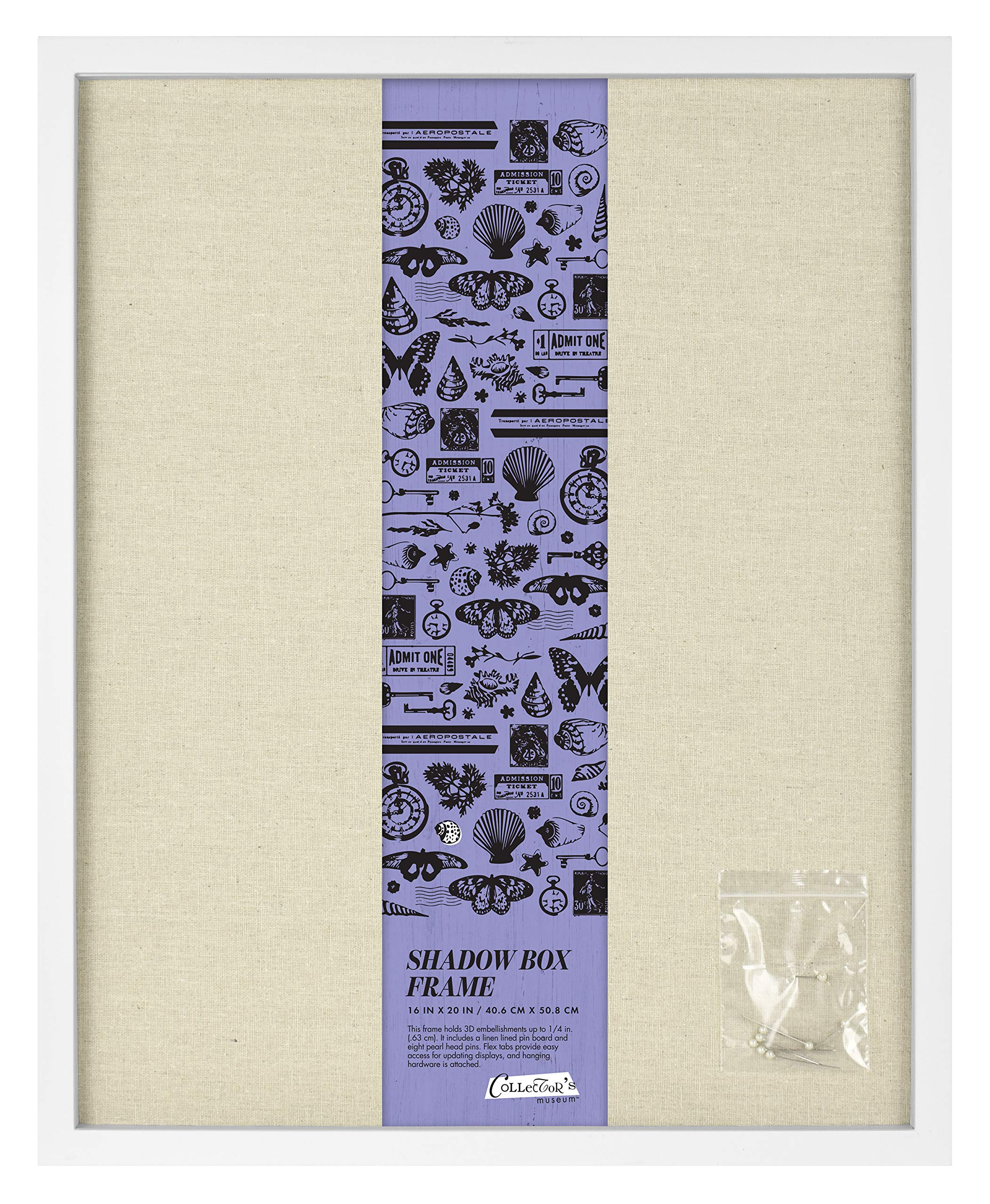 MCS 69023 16x20 Inch Linen Lined, White shadowbox,