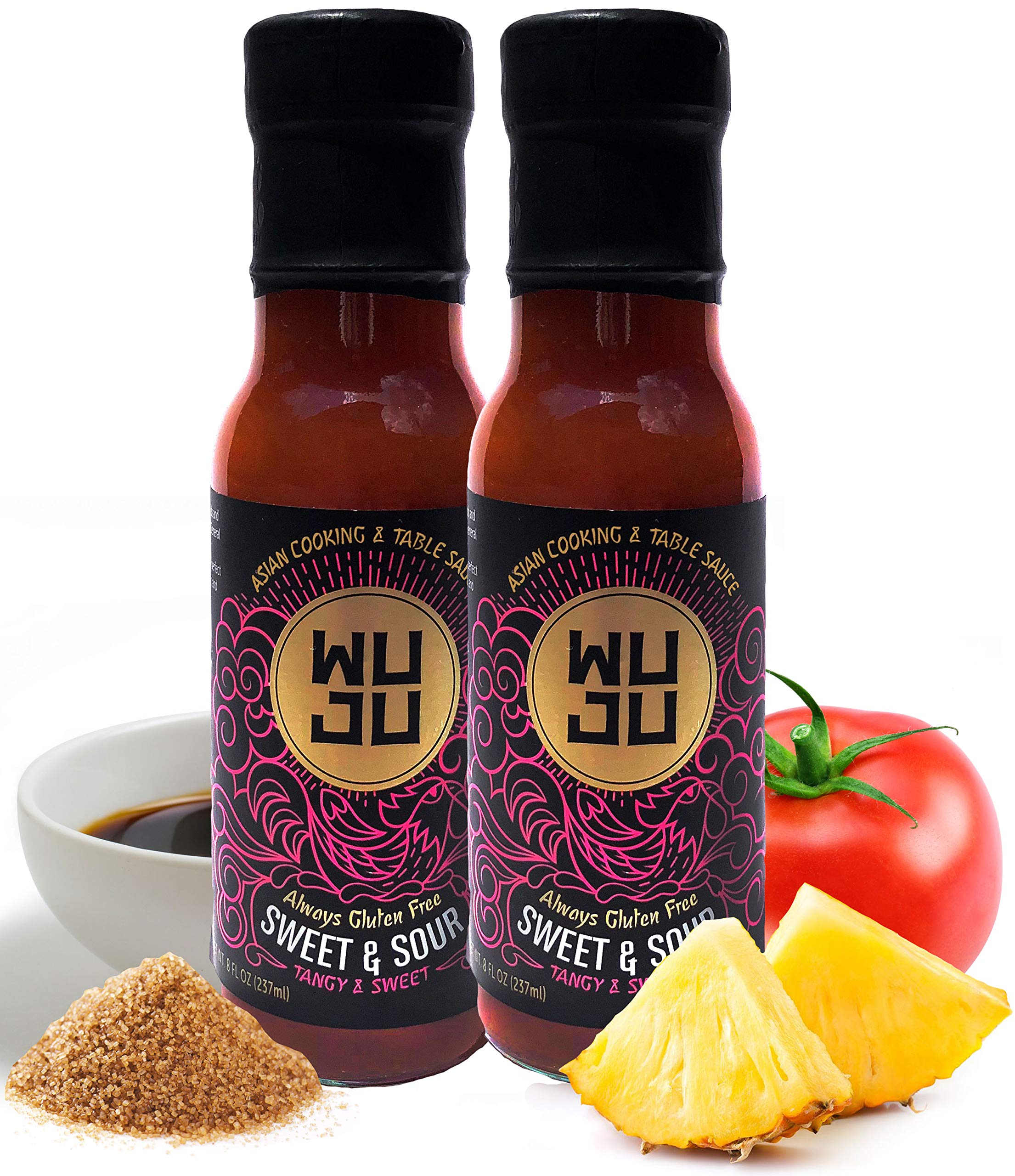 WUJU Sweet And Sour Sauce - Naturally Gluten Free Sweet Sour Sauce - Traditional Recipe, No Preservatives - Authentic Sweet N Sour Sauce With All Natural Ingredients - 2 x 8 Ounces by WUJU