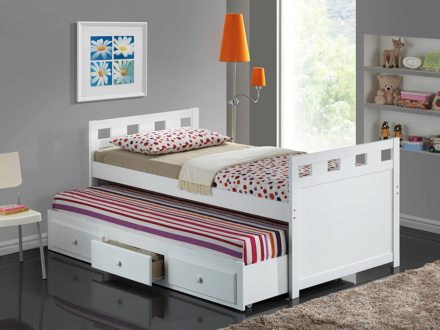 Amazon Com Broyhill Kids Breckenridge Captains Bed With Trundle Bed And Drawers White Kitchen Dining