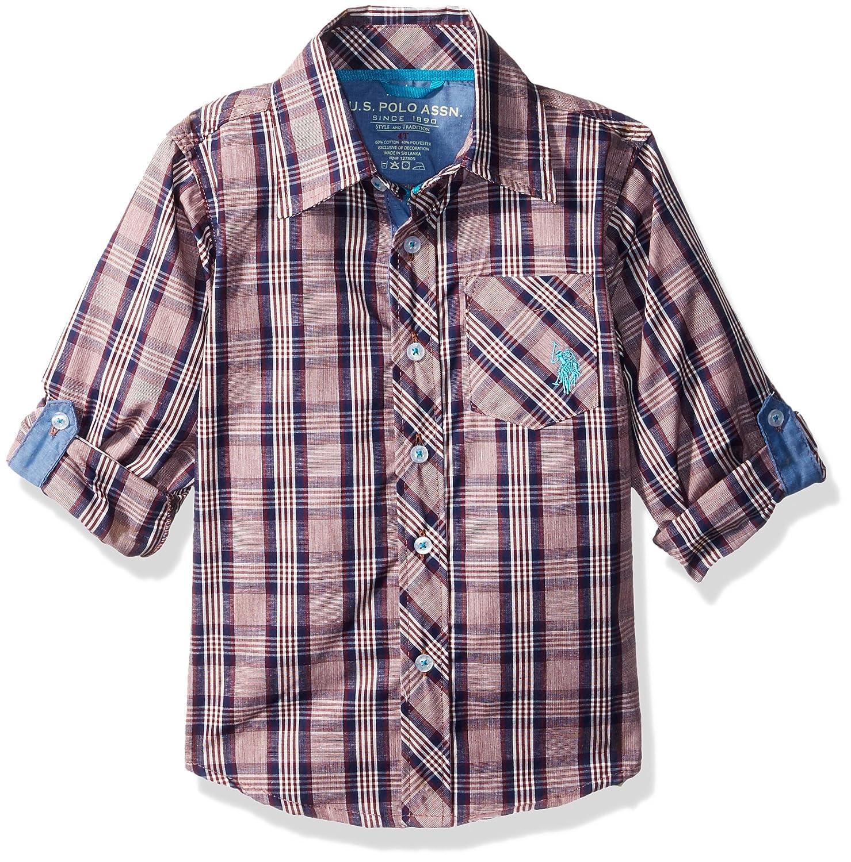 U.S. Polo Assn. Baby Boys' Long Sleeve Plaid Shirt Seagrams Burgund 6117 2T W461170SD