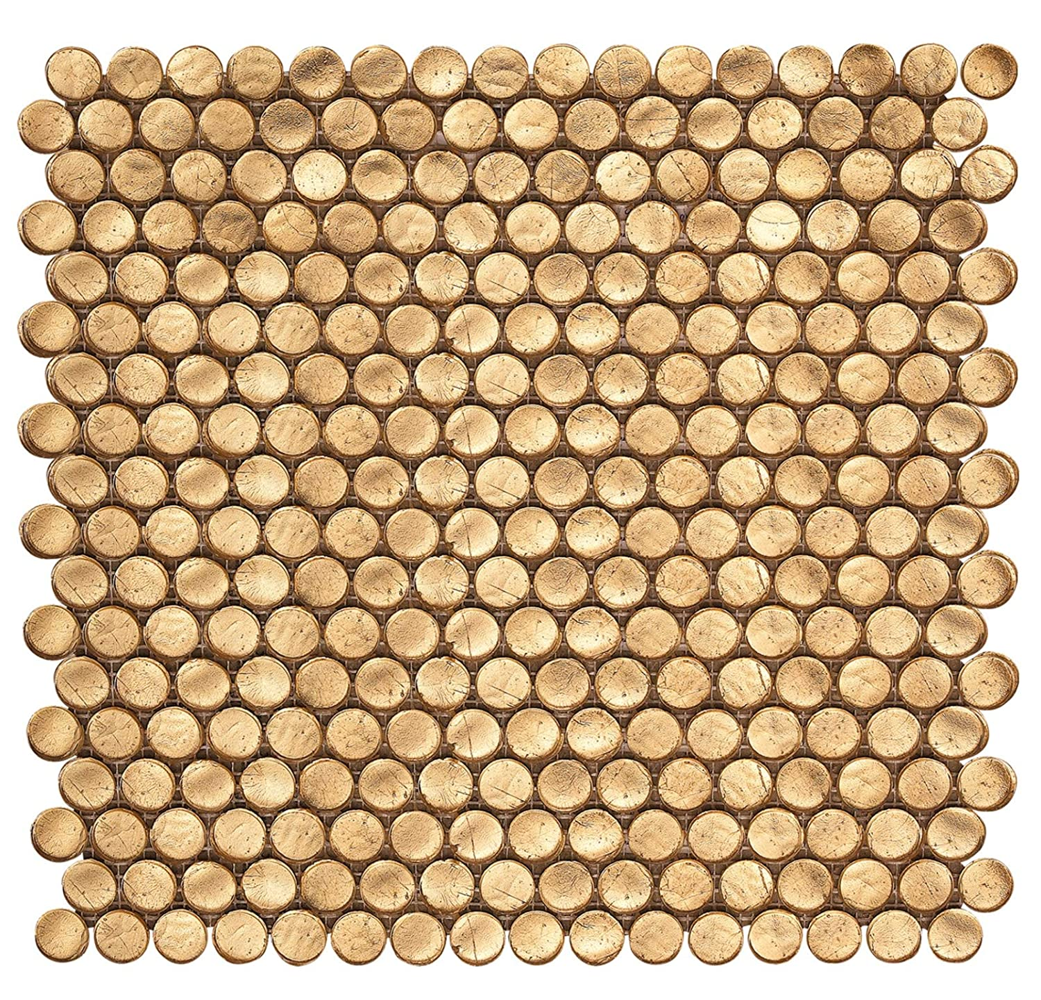 Gold Metallic Shimmer Penny Round Glass Mosaic
