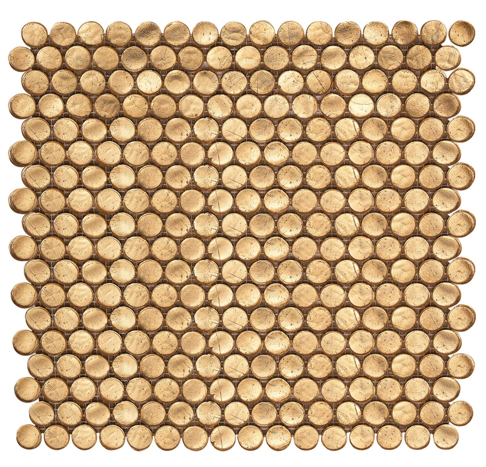 Gold Metallic Shimmer Penny Round Glass Mosaic by Squarefeet Depot