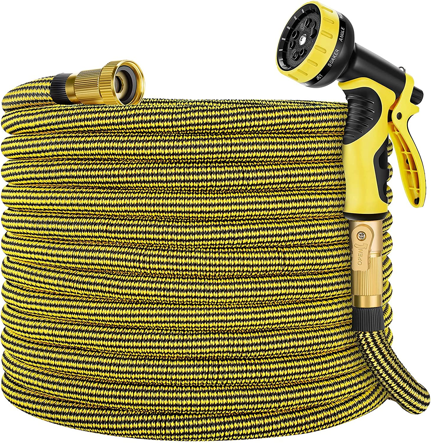 Zoflaro Garden Hose 100ft, Expandable Water Hose 100 feet with 10 Function Spray Nozzle, Extra Strength 3750D, Durable 4-Layers Latex Flexible Expandable Hose with 3/4