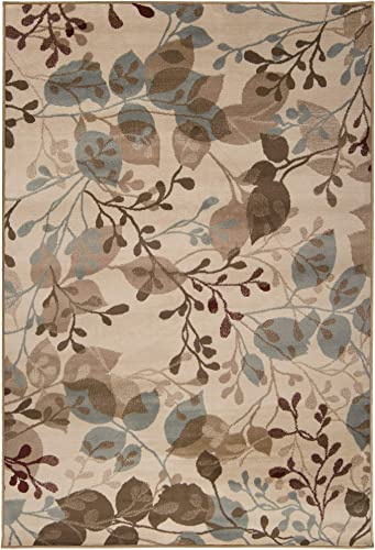 Diva At Home 5.25 x 7.5 Brown and Gray Contemporary Designed Rectangular Area Throw Rug