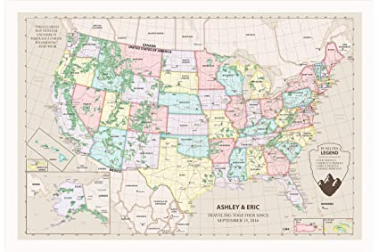 Amazon Com Vintage Usa Map Poster 24x36 Personalized United