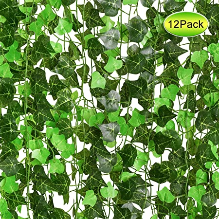 YQing Plantas Hiedra Artificial Decoración Interior y Exterior 91ft-12 Piezas Guirnalda Hiedra Artificial De Hogar Boda Jardín Valla Escalera Ventana para Decoración: Amazon.es: Hogar