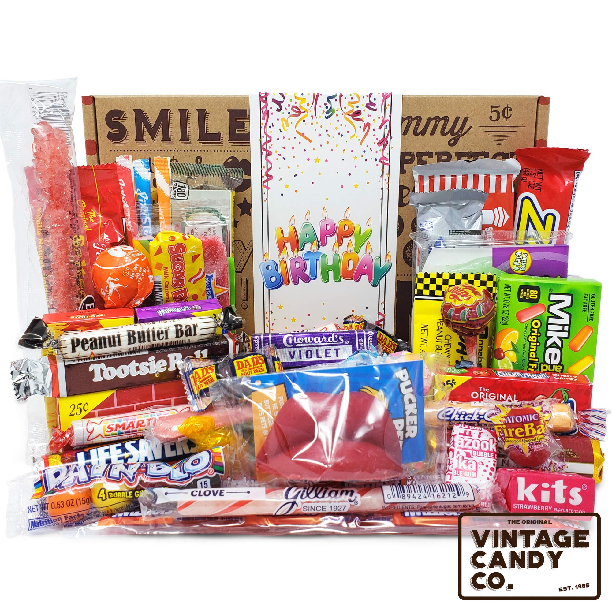 VINTAGE CANDY CO. HAPPY BIRTHDAY NOSTALGIA YEARS CANDY CARE PACKAGE - Retro Candies Assortment Variety - GAG GIFT BASKET - PERFECT For Adults, College Student, Military, Teens, Man, Woman, Boy or Girl