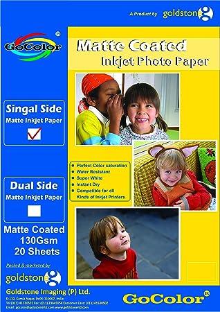 GoColor Matte Coated Inkjet Photo Paper 130 GSM A4 20 Sheet Paper