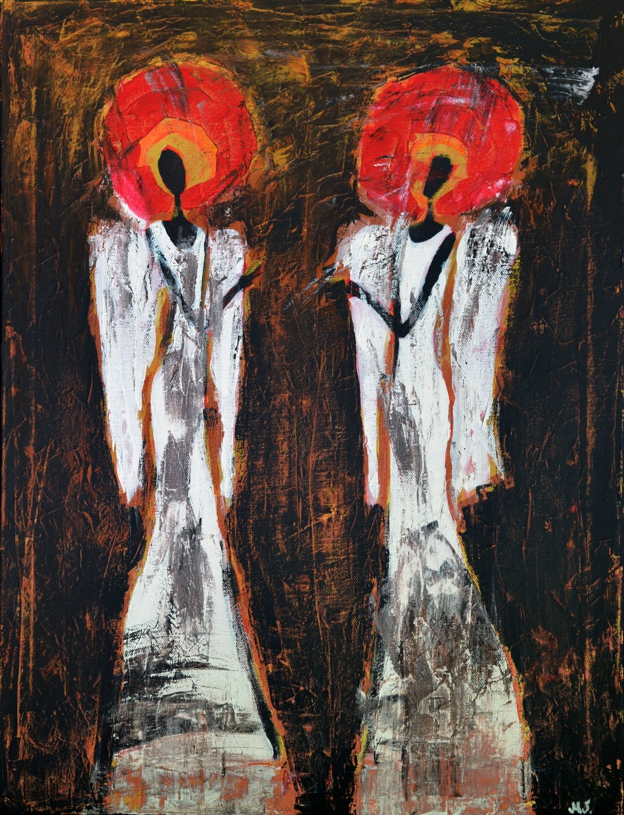 Two Guardian Angels Artwork on CANVAS Red and White Brown Black Painting for Wall Art Christmas Angel for Living Room Original 20x26 Home Decoration