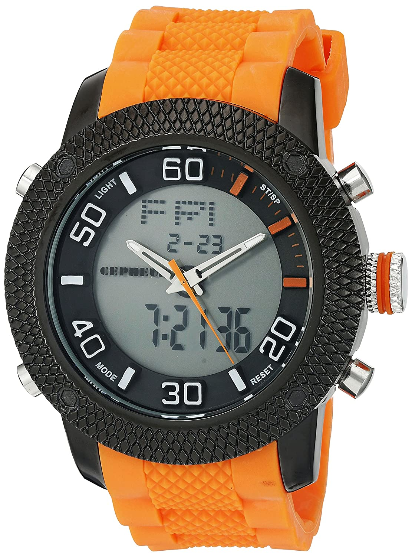 CEPHEUS Herren-Armbanduhr XL Analog - Digital Quarz Silikon CP903-620C