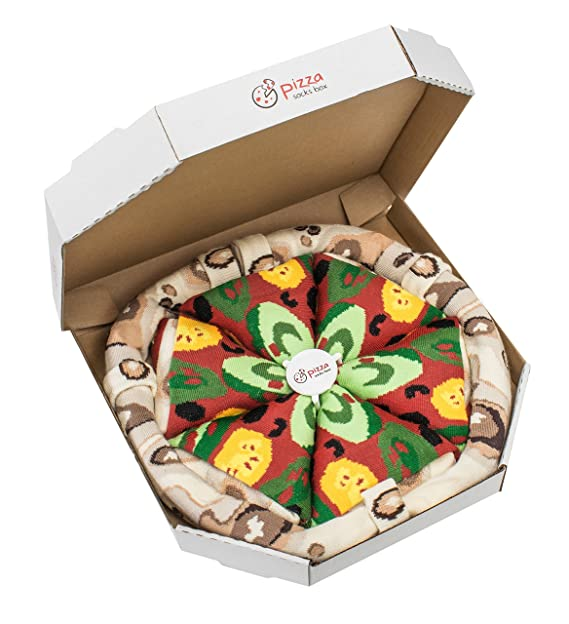 Pizza Socks Box - Pizza Vegetariana - 4 pares de CALCETINES Divertidos de ALGADON, Unicos