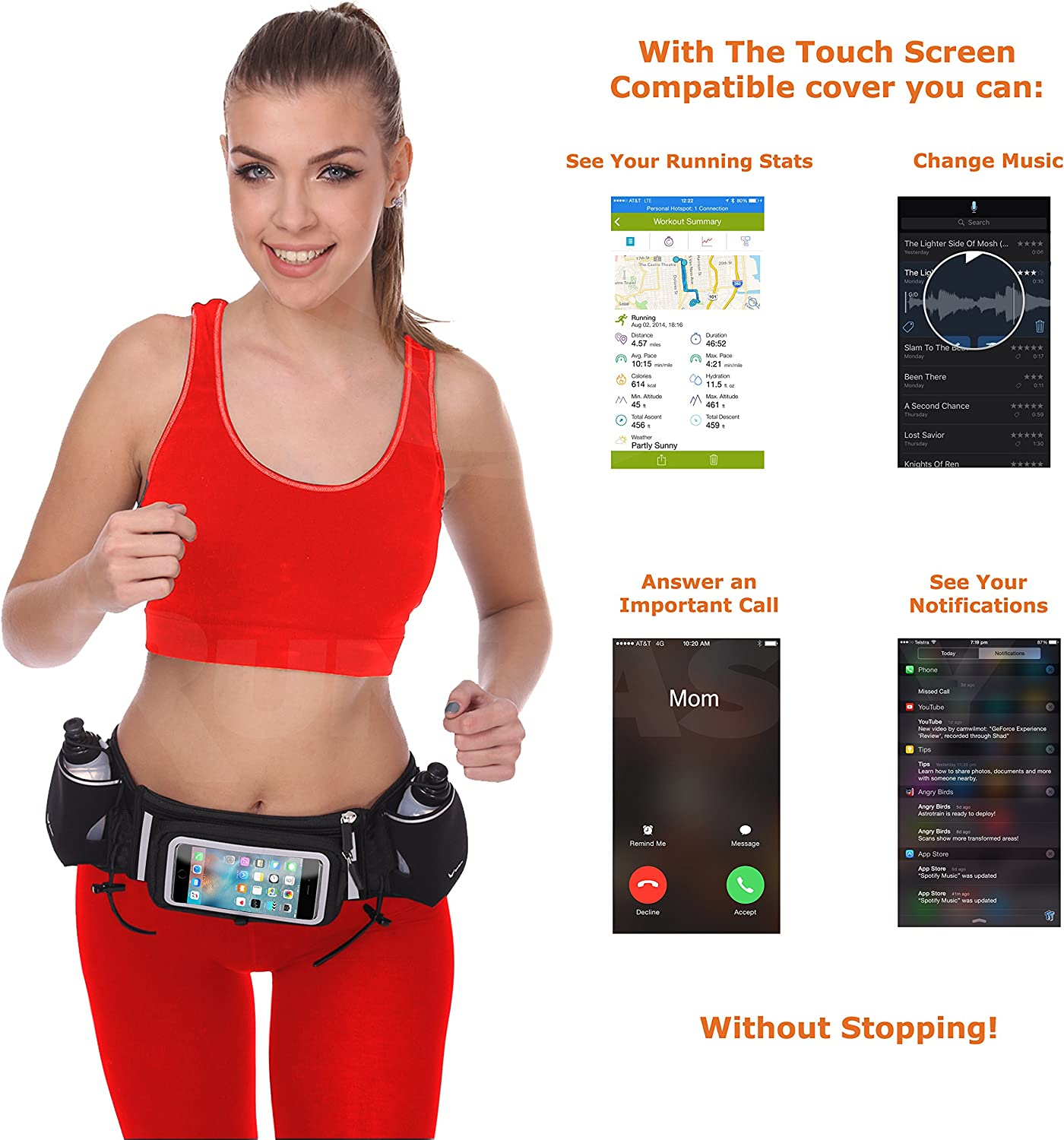 Runtasty [Voted No.1 Hydration Belt] Winners' Running Fuel Belt - Includes Accessories: 2 BPA Free Water Bottles & Runners Ebook - Fits Any iPhone - w/Touchscreen Cover - No Bounce Fit and More! : Sports & Outdoors