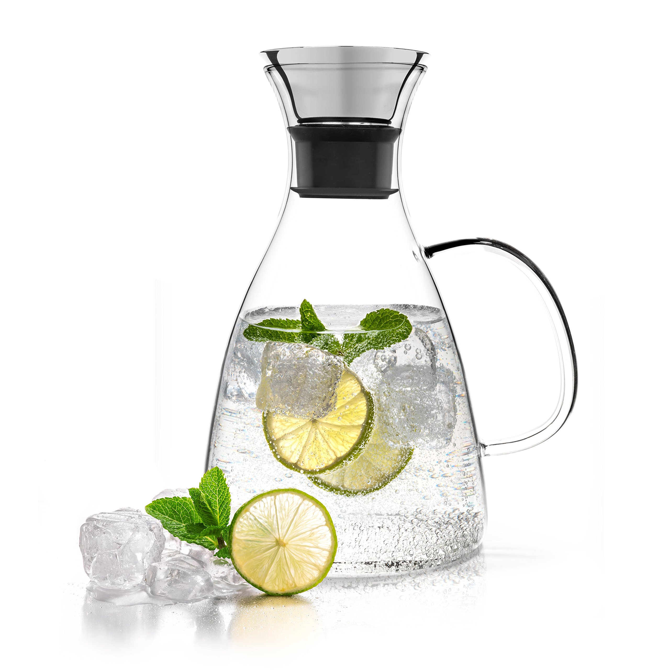 Tealyra - Large Glass Carafe 56-ounce - Drip-free - Stovetop Safe - Borosilicate Water Pitcher Jug Infuser - Hot or Iced Tea Juice Beverage - Decanting Serving Wine - 1600ml