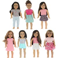 PZAS Toys 7 Outfit Set, Compatible with American Girl Doll Clothes and Other 18 Inch Doll Clothes