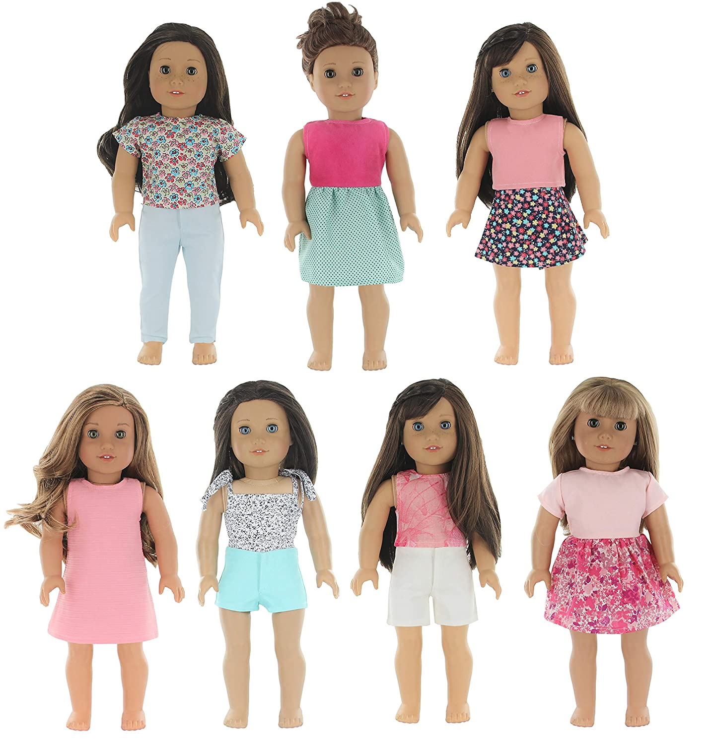 66a6f7882450 Amazon.com: PZAS Toys 7 Outfit Set, 18 Inch Doll Clothes, Compatible with  All 18 Inch Doll Clothes: Toys & Games