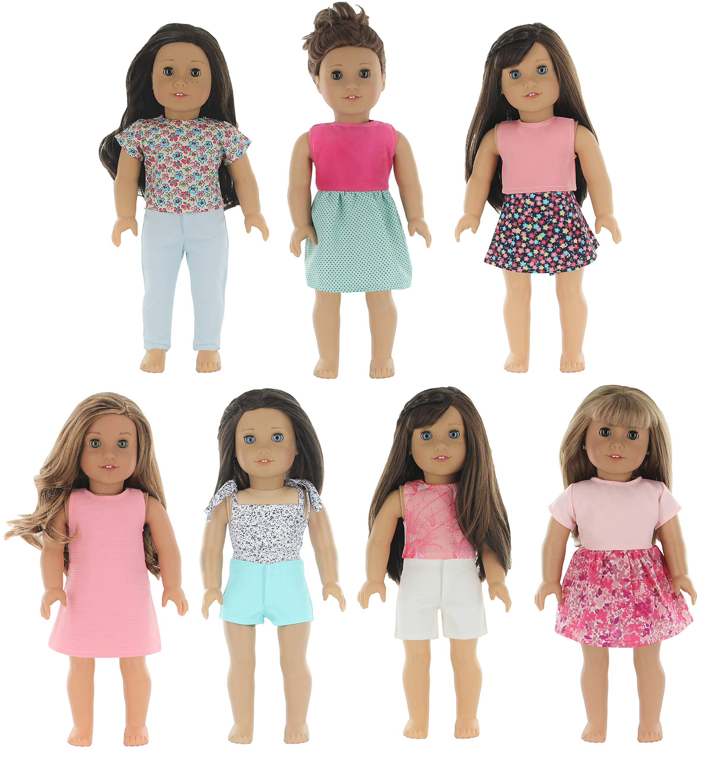 PZAS Toys 7 Outfit Set, 18 Inch Doll Clothes, Compatible with American Girl Doll Clothes and Other 18 Inch Doll Clothes